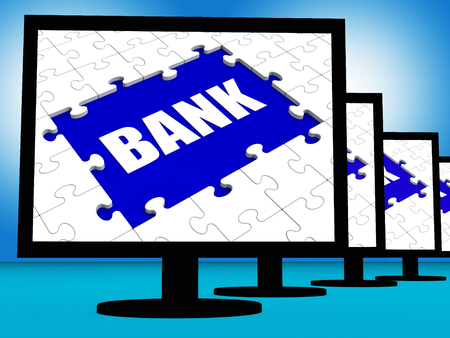Bank On Monitors Showing Online Or Electronic Internet Banking