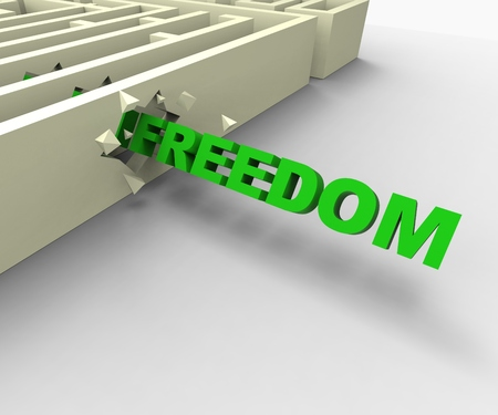 Freedom From Maze Shows Liberated Or Escape