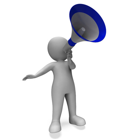 Megaphone Message Character Showing Announcements Proclaiming And Announcing