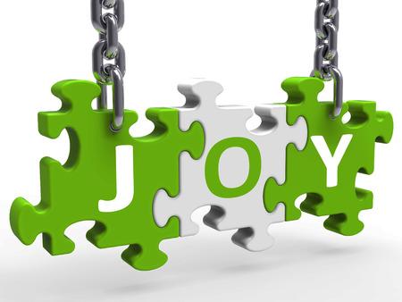 Joy Puzzle Showing Fun Cheerful Joyful And Enjoy