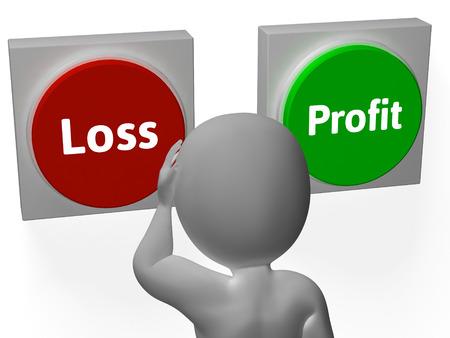 Loss Profit Buttons Showing Deficit Or Return