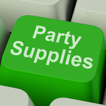 Party Supplies Key Showing Celebration Products And Goods Online