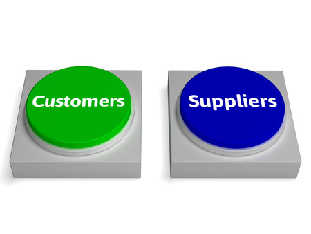 Customers Suppliers Buttons Showing Consumers Or Supplying