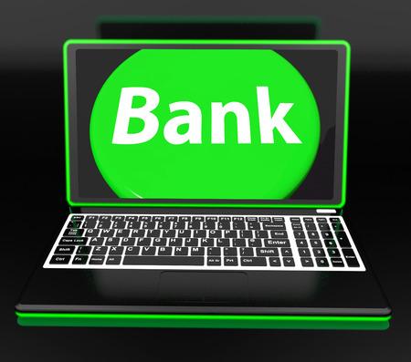 Bank On Laptop Showing Internet Www Or Electronic Banking