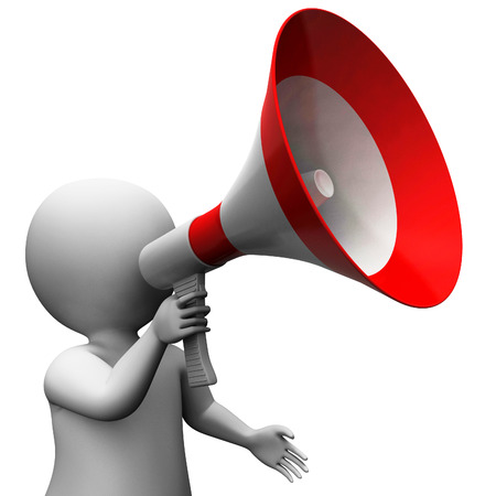 Megaphone Character Showing Speech Shouting Announcing And Announce