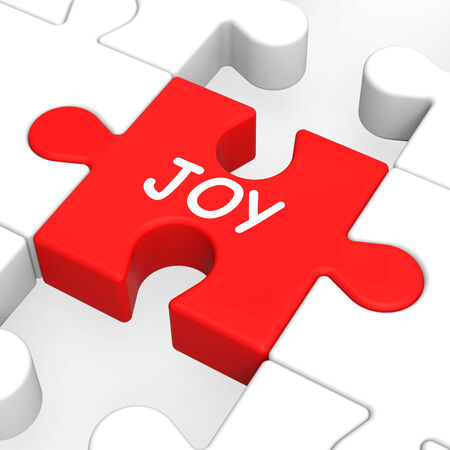 Joy Puzzle Showing Cheerful Fun Happy And Enjoy