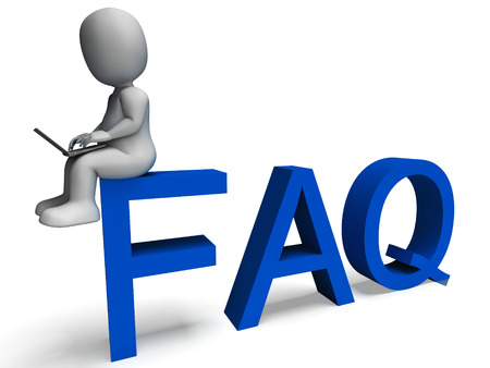 Faq 3d character Showing Frequently Asked Questions