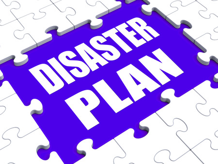 Disaster Plan Puzzle Showing Danger Emergency Crisis Protection