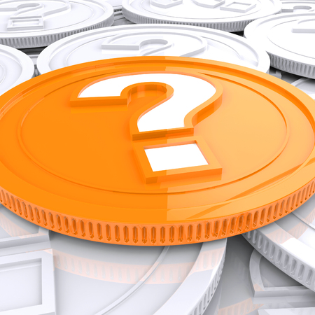 Question Mark Coin Showing Speculation About Finances