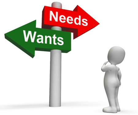 Wants Needs Signpost Showing Materialism Want Need