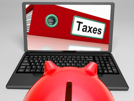 Taxes Laptop Meaning Paying Due Tax Online