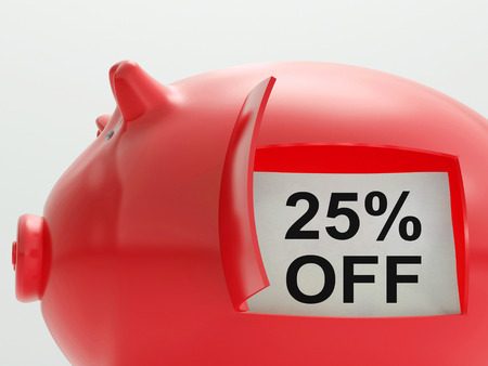 Twenty-Five Percent Off Piggy Bank Showing Price Slashed 25