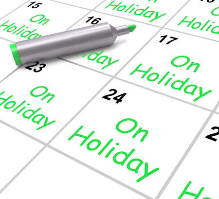 On Holiday Calendar Showing Annual Leave Or Time Off