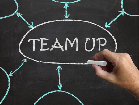 Team Up Blackboard Meaning Partnership And Joint Forces