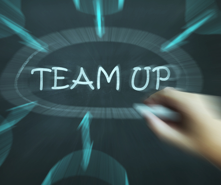 Team Up Diagram Meaning Partnership And Joint Forces