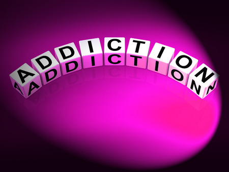 Addiction Dice Representing Obsession Dependence and Cravings