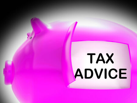 Tax Advice Piggy Bank Message Showing Advising About Taxes