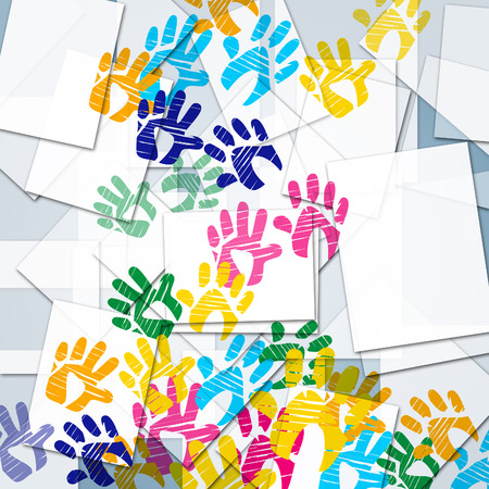 Handprints Color Indicating Sheet Paper And Colours
