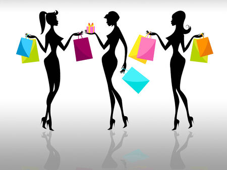 Shopping Shopper Showing Retail Sales And Females