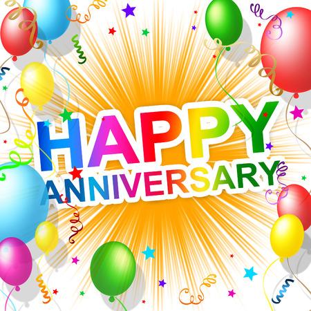 Happy Anniversary Indicating Joy Celebrate And Greeting
