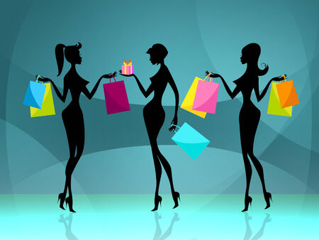 Shopper Women Representing Commercial Activity And Consumerism