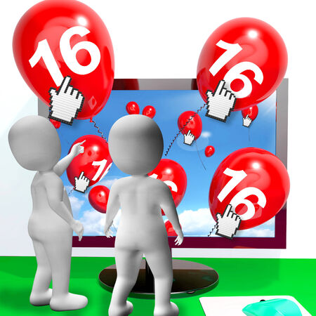 Number 16 Balloons from Monitor Showing Internet Invitation or Celebration