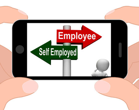 Employee Self Employed Signpost Displaying Choose Career Job Choice