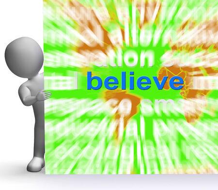 Believe Word Cloud Sign Showing Accepting Idea Faith Trust