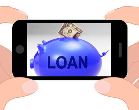 Loan Piggy Bank Displaying Money Loaned And Financing