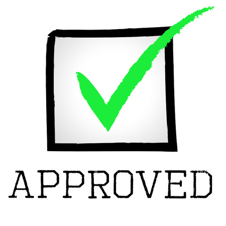 Approved Tick Indicating Yes Assured And Confirmed