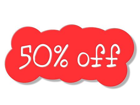 Fifty Percent Off Representing Promo Save And Reduction