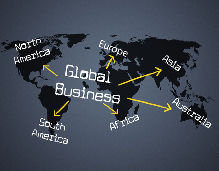 Global Business Indicating Commercial Globalization And Corporation
