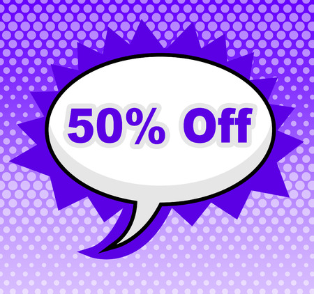 Fifty Percent Off Showing Offer Message And Sign
