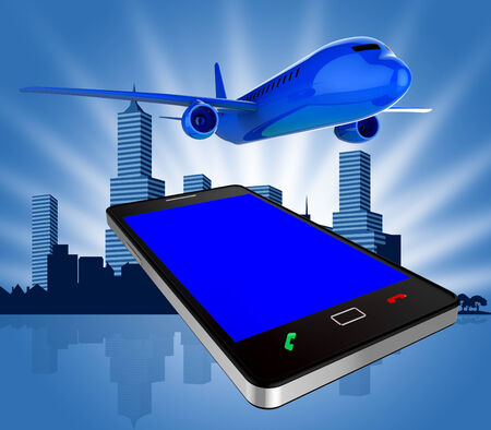 Book Flights Showing Airplane Fly And Mobile