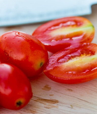 Salad Tomatoes Meaning Wooden Board And Food