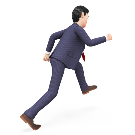 Businessman Walks Quickly Showing Saving Time And Stroll