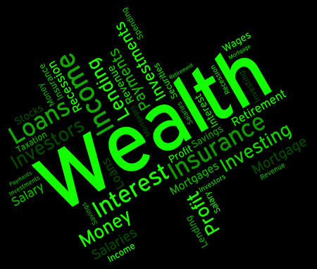 Wealth Word Representing Prosper Wordcloud And Richness