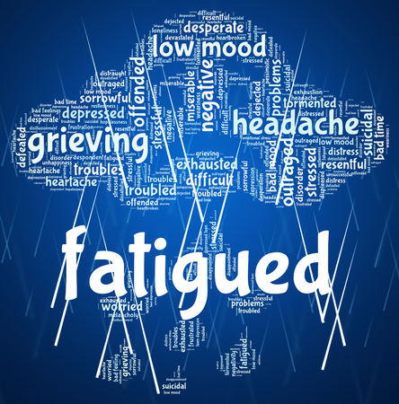 Fatigued Word Representing Lack Of Energy And Sluggish Words