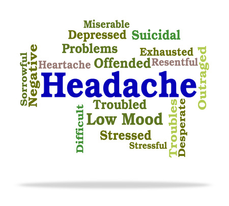 Headache Word Indicating Text Neuralgia And Migraines