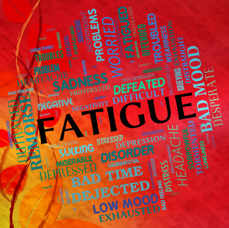 Fatigue Word Showing Lack Of Energy And Wordclouds Overtired
