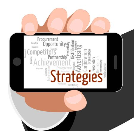 Strategies Word Representing Business Strategy And Tactics