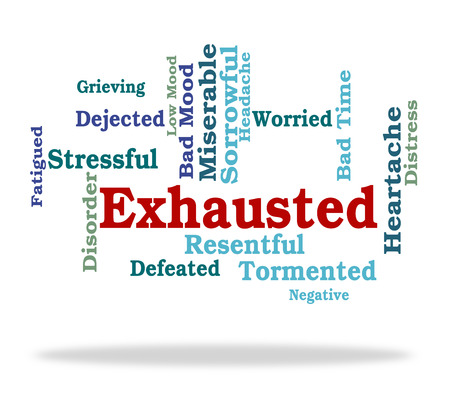 Exhausted Word Representing Tired Out And Wordcloud