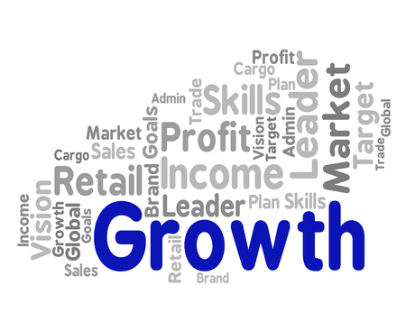 Growth Word Representing Expand Rising And Increase