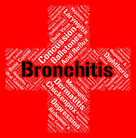 Bronchitis Word Indicating Poor Health And Ill