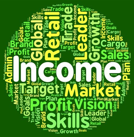 Income Word Representing Wage Incomes And Revenue