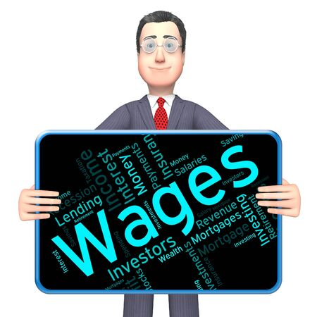 Wages Word Showing Earning Revenues And Earns