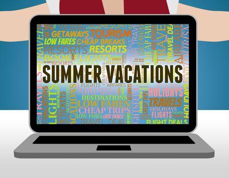 Summer Vacations Representing Summertime Holiday And Vacational