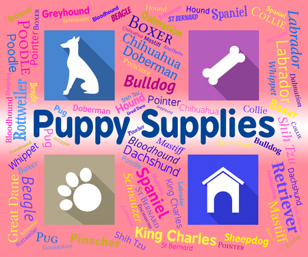 Puppy Supplies Showing Canine Product And Pet