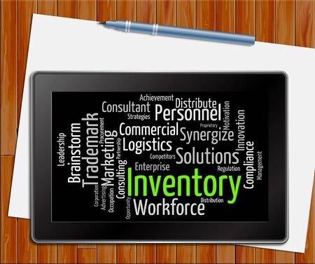 Inventory Word Indicating Stock Product And Words Tablet