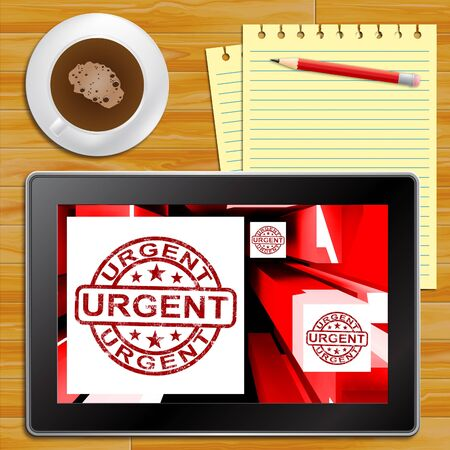 Urgent On Cubes Shows Urgent Priority Or Speed Delivery Tablet